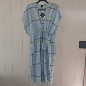 NWT Echo Striped Beach Coverup Kaftan